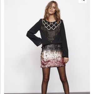 MINKPINK Ombré Moon Dust Sequin Mini Skirt L NWT